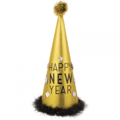 "Cone Hat with Tinsel ""Happy New Year"", Amscan 251054"