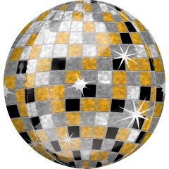 Orbz Gold, Silver, Black Disco Ball Foil Balloon, Amscan 40110