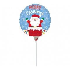 Balon Mini Folie Mos Craciun - 23 cm, umflat cu aer + bat si rozeta, Amscan 38328