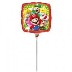 Balon Mini Folie Mario- 23 cm, umflat + bat si rozeta, Amscan 32028