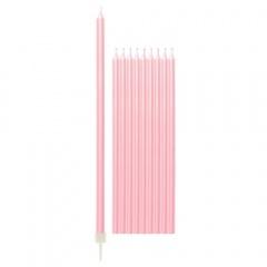 Lumanari aniversare pentru tort roz perlat cu suport - 15.5 cm, Radar 51833, set 10 bucati