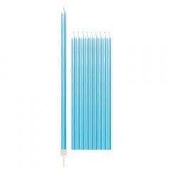 Lumanari aniversare pentru tort bleu perlat cu suport - 15.5 cm, Radar 51834, set 10 bucati