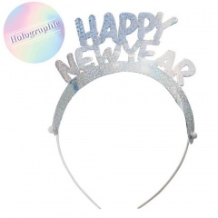 Coronite argintii holografice Happy New Year - Radar 45543, set 4 buc