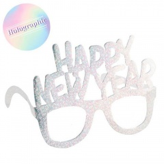 Ochelari carton argintii holografici Happy New Year - Radar 45593, set 6 buc
