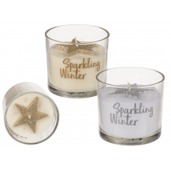 Candle in glass Sparkling Winter - 8 x 7,5 cm, Radar 950104