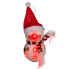Snowman with hat & 6 flashing LED (incl. batteries) - 15 cm, Radar 960134