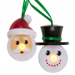 Decoratiune Santa & Snowman cu led - 6.2 cm, Radar 960273, set 2 buc