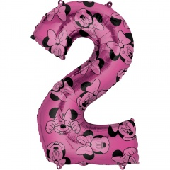 Balon Folie Figurina Minnie Mouse Forever Cifra 2 roz- 66 cm, Amscan 40137, 1 buc