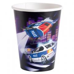 Pahare carton Police pentru petrecere - 250 ml, Amscan 998283, Set 8 buc