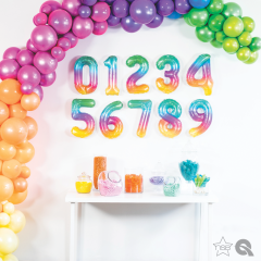"16""/41 cm Jelly Ombre Number Shaped Foil Balloons, Qualatex, 1 piece"