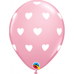 Baloane latex 11'' - Big Hearts Pink, Qualatex 18078, set 6 buc