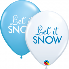 Simply Let It Snow Balloons 11'', Qualatex 97491, pack of 6 pieces