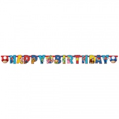 Banner decorativ Super Mario Happy Birthday - 190 x 15 cm, A 9901542, 1 buc