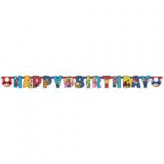 Letter Banner Super Mario Paper 190 x 15 cm, Amscan 9901542, 1 piece