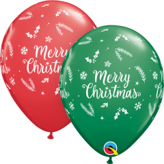 Baloane Latex 11''/28 cm - Merry Christmas, Qualatex 97348