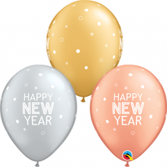Baloane Latex 11''/28 cm- Happy New Year, Qualatex 97326, set 25 buc