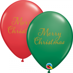 Baloane Latex 11''/28 cm - Merry Christmas, Qualatex 97323, set 25 buc