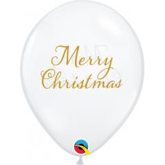 Baloane Latex 11''/28 cm - Merry Christmas, Qualatex 97322