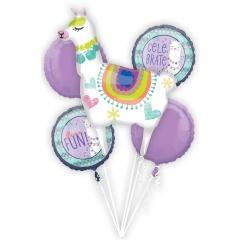 Bouquet Llama Fun Foil Balloon, Amscan 39959, set of 5 pieces