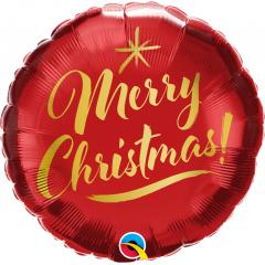 Balon Folie 45 cm - Merry Christmas Gold Script, Qualatex 89850, 1 buc