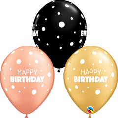 Baloane Latex 11''/28 cm - Happy Birthday Dots, Qualatex 13242, set 25 buc