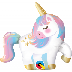 Balon Mini Figurina Unicorn - 36 cm, umflat + bat si rozeta, Qualatex 10470, 1 buc