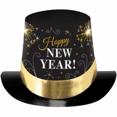 Top Hat Happy New Year Black, Silver & Gold Print Foil, Amscan 25801