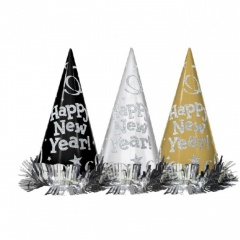 12 Cone Hats Happy New Year Metallic Black, Silver, Gold 22 cm, Amscan 259659