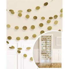 6 String Decorations Glitter Gold Foil 213 cm, Amscan 672424-19