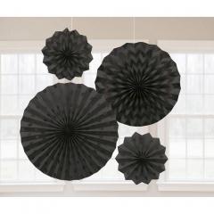 4 Fan Decorations Glitter Black Paper 20.3 cm / 30.4 cm / 40.6 cm, Amscan 295000-10