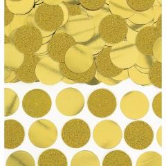 Confeti rorunde aurii cu sclipici si folie pentru party si evenimente, 63g, Amscan 360220-19