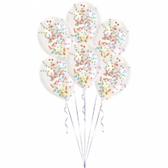Baloane latex 11'' + confetti multicolore, Amscan 9903277, Set 6 buc