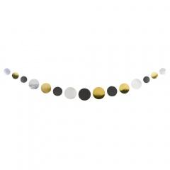 Ghirlanda decorativa cu buline aurii, argintii, negre - 170 cm, Amscan 9902274