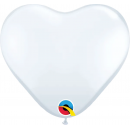 "11"" White Latex Heart Balloons, Qualatex 43735"