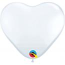 "Baloane latex in forma de inima 11""/28 cm - Alb, Qualatex 43735"