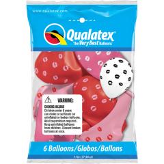 "Baloane latex 11""/28 cm - Kissey Lips, Qualatex 10627, set 6 bucati"