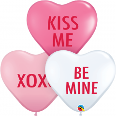 Love Expression Assortment 11'' Heart Shaped Balloons, Qualatex 29005