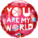 You Are My World Foil Balloon, Qualatex 97171