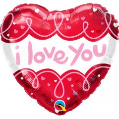Balon Folie 45 cm - I Love You, Qualatex 97174