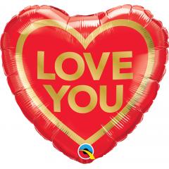 Love You Golden Heart Foil Balloon, Qualatex 97168