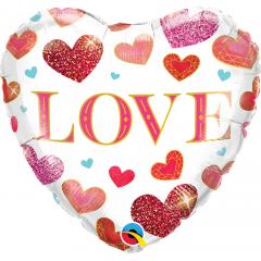 Love Jewel Hearts Foil Balloon, Qualatex 97185