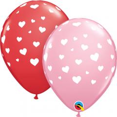 Random Hearts-A-Round Latex Balloons, Qualatex 85713