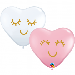 Eyelashes 11'' Heart Shaped Balloons, Qualatex 97147