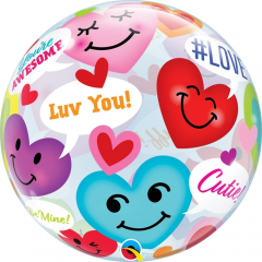 Balon Bubble Conversation Smiley Hearts 22''/ 56 cm, Qualatex 78466