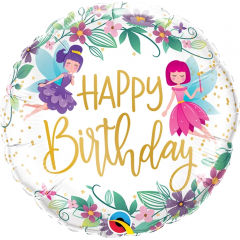 Birthday Wild Flower Fairies Balloon Foil, Qualatex 12263