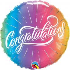 Balon Folie 45 cm - Congratulations Vibrant Ombre, Qualatex 98485