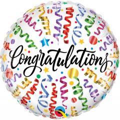 Balon Folie 45 cm - Congratulations Streamers, Qualatex 55812