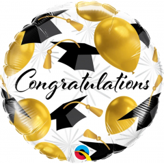 Balon Folie 45 cm - Congratulations Gold Balloons, Qualatex 82283