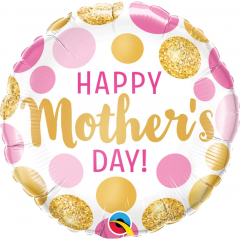Mother's Day Pink & Gold Dots Balloon Foil, Qualatex 55830