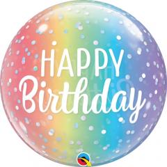 Balon Bubble Birthday Ombre & Dots 22''/ 56 cm, Qualatex 13232